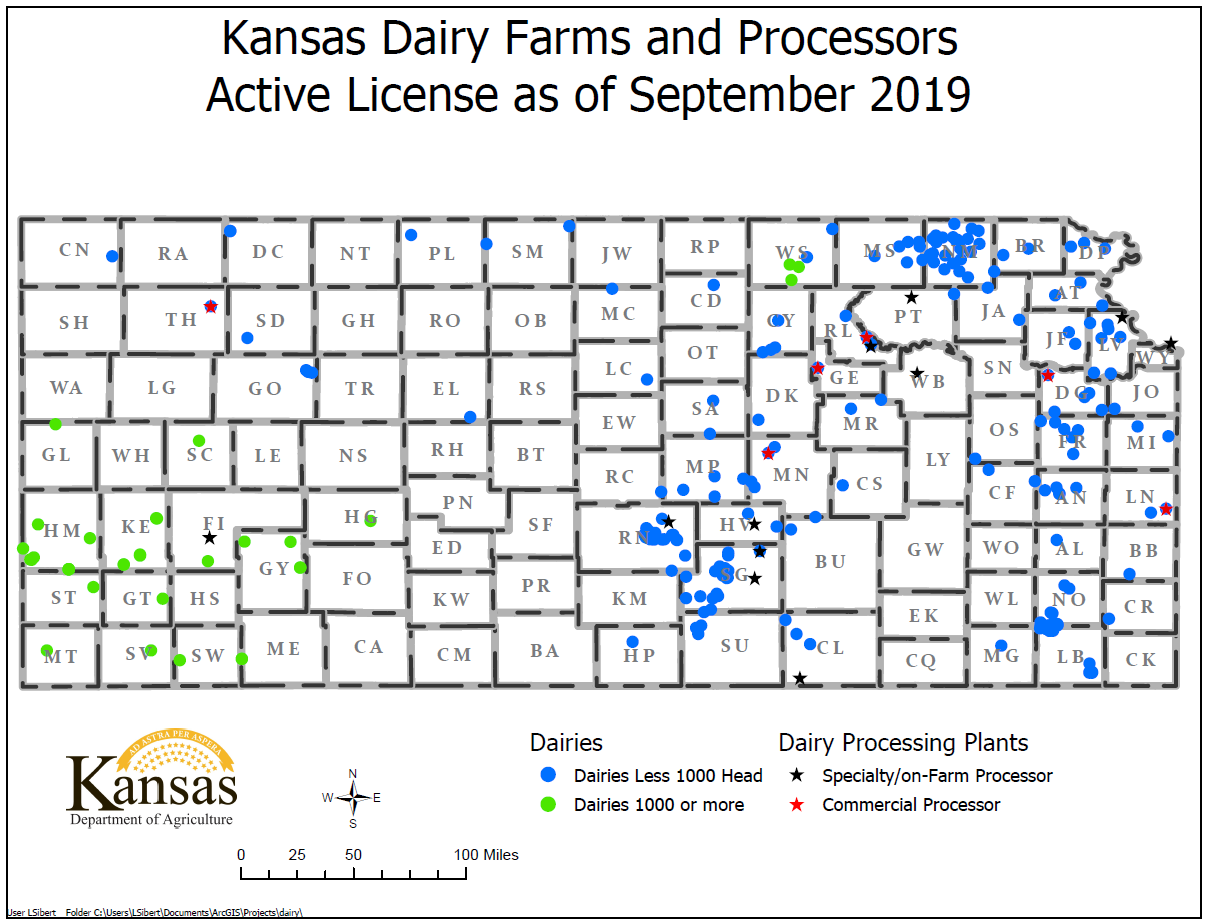 Map of Kansas Dairies